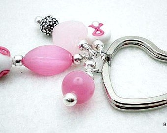Sale / On Sale / Clearance Jewelry / Jewelry on Sale / Marked Down / Pink Ribbon Heart Key Ring - AW00038