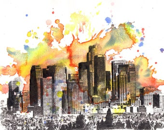 Los Angeles Cityscape Skyline Landscape Art Print Poster From Original Watercolor Painting 17 x 22  Large Wall Art Print