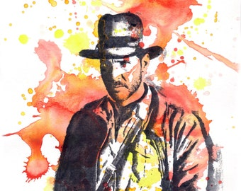 Harrison Ford as Indiana Jones Movie Poster Art Print From Original Watercolor Painting 13 x 19 in Art Print Movie Poster