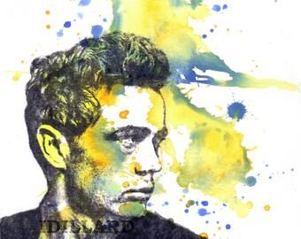 Retro Art James Dean Art Portrait Watercolor Painting Pop Art Original Watercolor Painting Great Pop Art Movie Poster