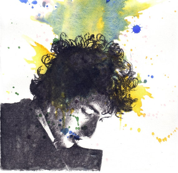 Portrait of Bob Dylan Watercolor and Custom Portrait of Jeff Buckley Painting - Original Watercolor Painting 8.5 X 11 in.