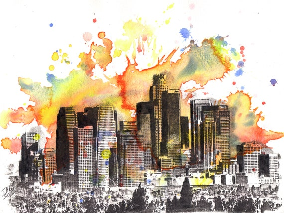 Los angeles skyline art print poster from original watercolor for Painting in los angeles