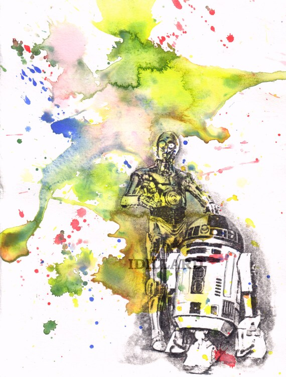 Star Wars Art Print R2D2 and C3PO from original Watercolor Painting - Star Wars Poster Print 8 X 10 in.