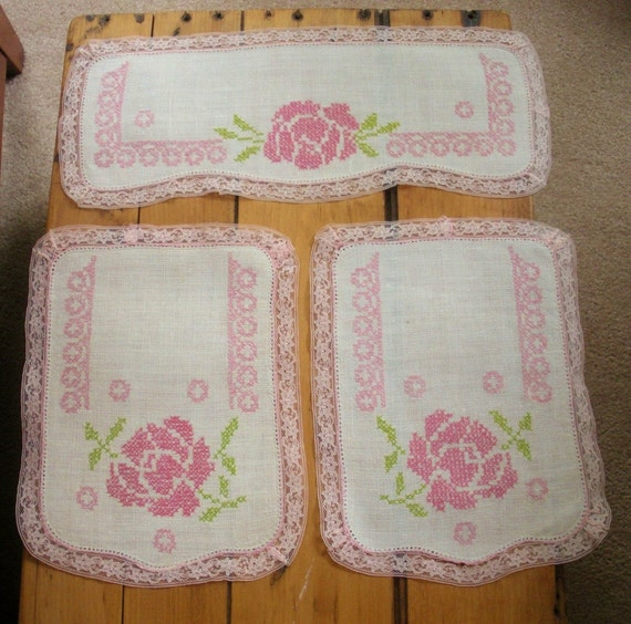 Vintage Pink Cross-Stitch Rose Arm Chair Back Set