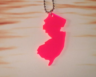 Neon Pink New Jersey Necklace - Large Size in Fluorescent Acrylic