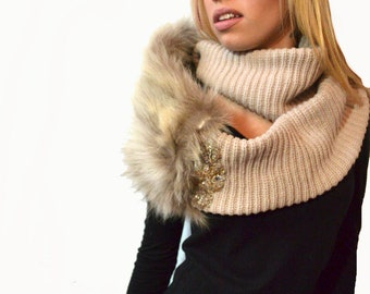 Beige Infinity Scarf with a Fur Twist - Taupe