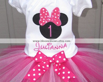 Minnie Mouse Birthday Tutu Set in Dark Pink and White