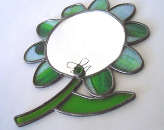 vintage 1970's ooak handmade bohemian stained glass flower mirror