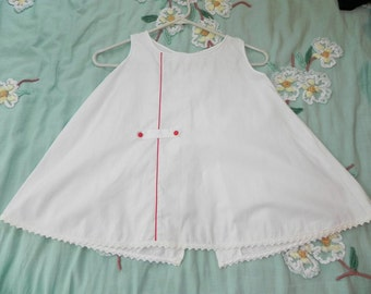 Vintage Girls Dress 50s White Cotton bell shaped Dress or Tunic with Red Trim 4 5 6 7 - on sale