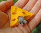 Tiny Grey Mouse With Cheese, Waldorf Inspired, Needle Felted