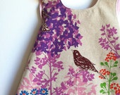 Wish Border Pink Birds Reversible Modern Pinafore Dress by Noah and Lilah - handmade pinnie - butterfly applique