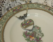 Broken China Jewelry Lenox Spring Bounty Heart Embellished Necklace, Lucious Yummy Colors
