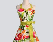 Womens Flirty Sweetheart Apron / OOPS a Daisy Colorful Floral Collection on White Trimmed in Lime Green Checks