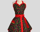 Sexy Retro Pinup Apron : Flirty and Cute Ruffled Sweetheart Apron in Red Cherry and White Dot on Black in Vintage Style Full Skirt