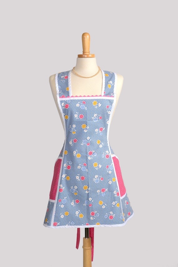 SALE Retro Full Kitchen Apron : Handmade Cute Womens Apron in Vintage Country Blue Dot with Yellow Hot Pink and Blue Floral