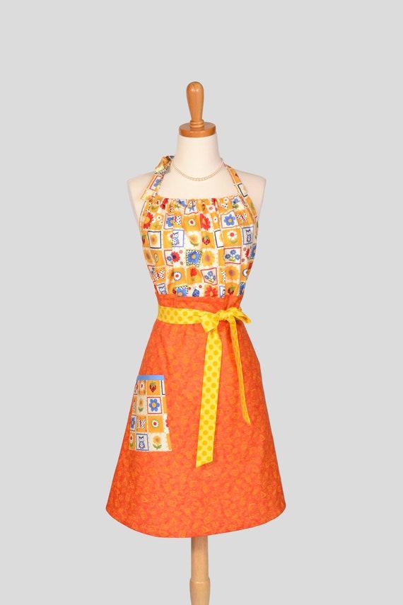 Cute Kitsch Retro Apron : Full Kitchen Womens Apron Handmade in Modern Design Adorable Orange Yellow Blue Butterflies and Flowers