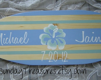 27 inch SURFBOARD Hawaiian Beach Wedding Alternative Sign In Guest Book / Blue Mint Green / Personalized / Lots Designs 2 Sizes / SALE
