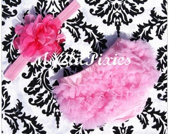 BEST DEAL- Chiffon Ruffle Bum Baby Bloomer and Headband Set In Pink- Choose your Size - Photo Prop- MY2LILPIXIES
