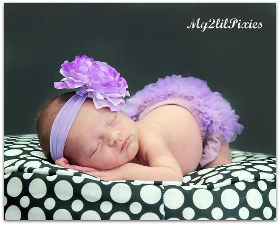 Photo Prop Set- Chiffon Ruffle Bum Baby Bloomer and Headband Set Lavender- Choose your Size - Photo Prop- MY2LILPIXIES