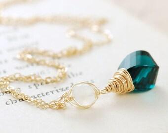 Gold Pendant Necklace, Teal Quartz Moonstone Necklace, Gemstone Layering Necklace, aubepine