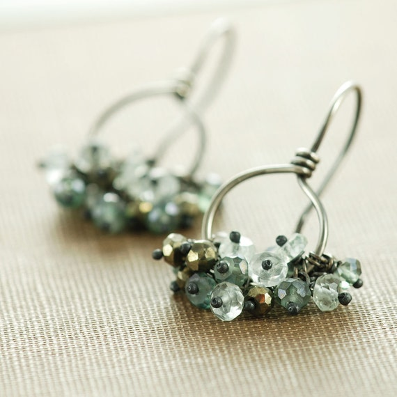 Sterling Silver Cluster Earrings, Teal Gray Gemstone Hoop Earrings, March Birthstone Jewelry, Aquamarine Pyrite, aubepine