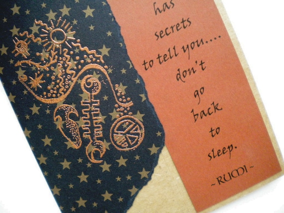 SECRETS TO TELL - Bookmark Greeting Card with quote by Rumi