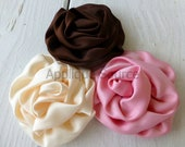Satin French Twist Flowers - CREAM - Set of 2 Flower Appliques Bridal Flower Hair Accessories Crafts More...