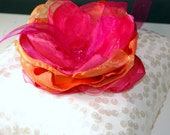 Ring Bearer Pillow - Ring Pillow - Ivory and Sequin Pillow with Fuchsia and Orange Flower - Custom Flower Colors Available