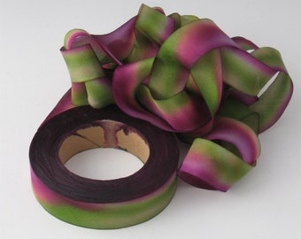 Hand dyed silk bias-cut ribbon