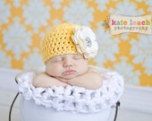 Organic Cotton & Soy Beanie Hat - Yellow Hat with Ivory Flower and Rhinestone - Fancy Newborn Photo Prop