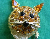 Reserved for Maura - Vintage Lion Pin Amber Rhinestone Face Caricature