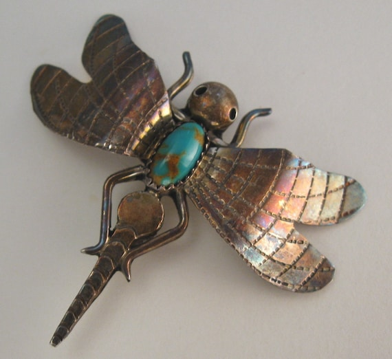 Sterling Dragonfly Brooch Turquoise Stone