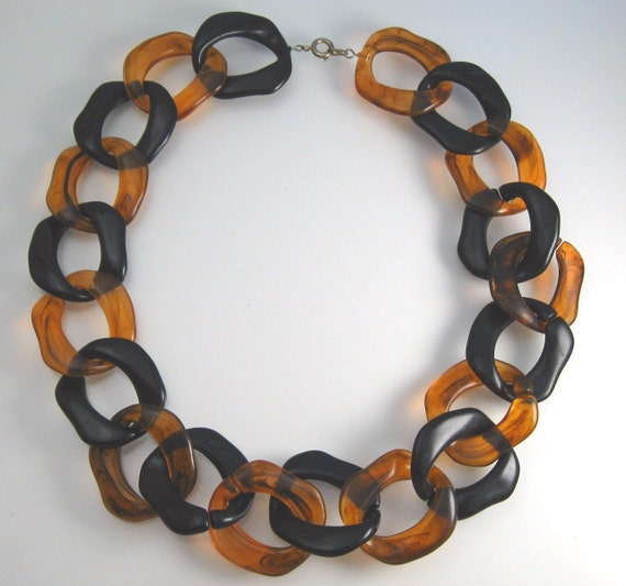 Perfect Halloween Necklace - Bold Vintage Black & Orange Chain