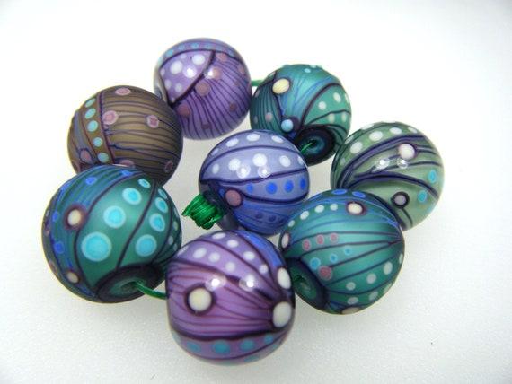Moogin - pastel batik  lampwork bead set - 16mm - SRA