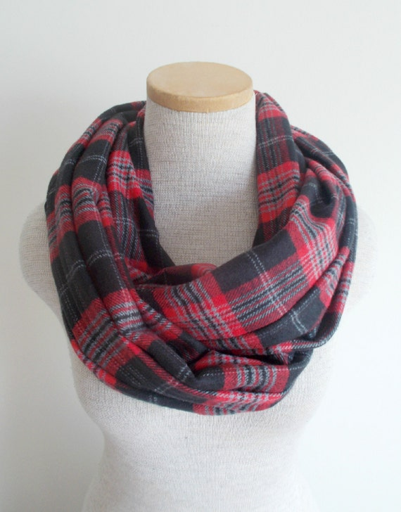 Infinity Scarf Plaid Flannel Cotton Cowl in Red Black and Grey - Unisex