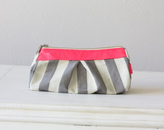 cosmetic bag - Stripe cotton grey and  neon Pink leather