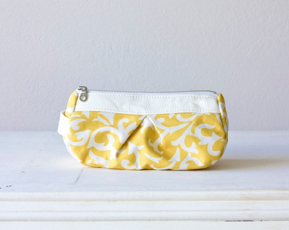 cosmetic bag - Yellow cotton floral pattern and white leather