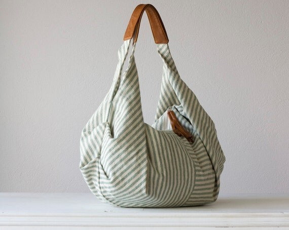 Green stripe hobo bag , shoulder purse in cotton canvas  and light brown leather - Kallia