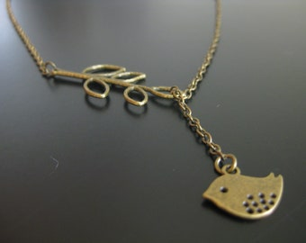 Tweetalishes Necklace, Bird Necklace, Gold Necklace, Dainty Necklace, Charm Necklace [LBNK01C]