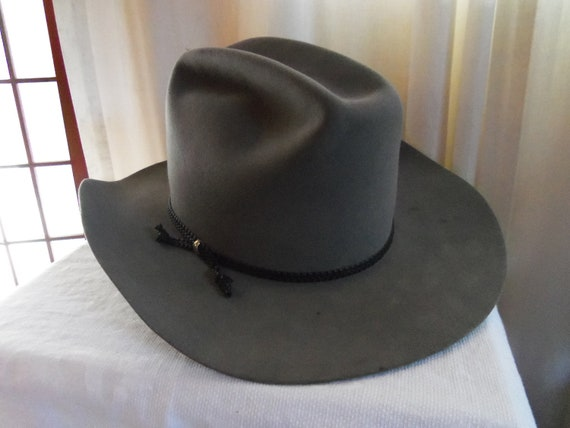 5 X Beaver Cowboy Hat Rodeo Western Style Miller Brothers Size 7 5/8 Style is Colorado, Color Gun Metal