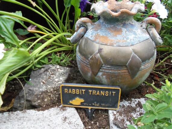 Vintage  Wrought Iron metal Garden Sign Rabbit Transit