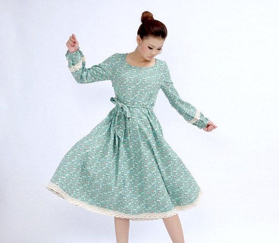 blue floral dress, maxi dress, Long sleeve dress , floral print dress, midi dress, Linen dress, Fit and flare dress, Custom dress (270)