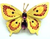 Vintage Enamel Butterfly Brooch with Rhinestones, Handpainted 1950s