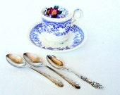 Vintage Demitasse Spoons, cr. 1930s, Marthinsen Norway, New England Silver plate, Rose MRT3 and Brandon Pattern  I Take Credit Cards