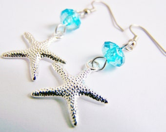 Silver Plated Starfish Earrings - FREE SHIPPING w.a.i. - matching necklace available - Bridesmaids - gifts sets - Weddings beach seaside