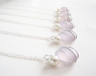 Seaglass Bridesmaids sets - Lavender - Glass Pearl - Other Colors Available - Earrings available - Weddings - affordable - seaside
