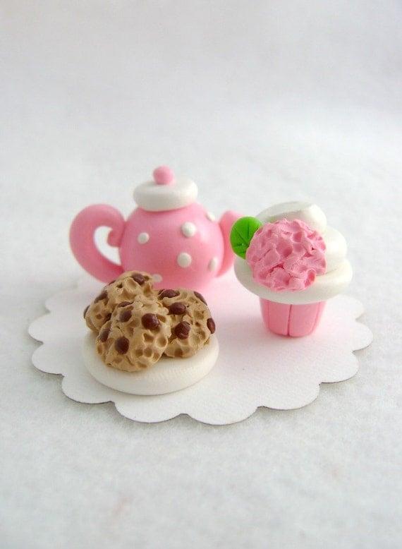 Pink Tea Party Set,  Dollhouse Miniature