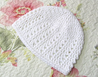 Snow White Beanie Comfortable Cotton Hat All Season Cap Kundalini Yoga Practice Crochet Cloche Medium Size Skullcap Unisex Fashion