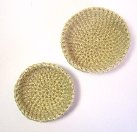 Man Cave Nesting Baskets Honeycomb Rug Yarn Bowls Tan Sand Stacking Storage Fiber Pots Dorm Decor Spiral Organizer Hand Crocheted by Lilena