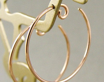 """Rose Gold Hoops / Silver Hoops / Catchless Gold Hoops / Gold Filled Hoops / Medium Gold Hoops / Little Black Dress Earrings / 1"""" (25mm)"""